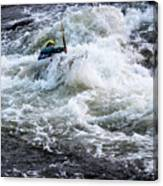 Kayak Roll Up In Pipeline Rapids 5959 Canvas Print