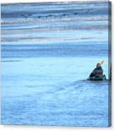Kayaker And Geese Canvas Print