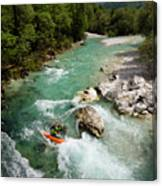 Kayaker Shooting The Cold Emerald Green Alpine Water Of The Uppe Canvas Print