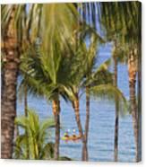 Kayakers Through Palms Canvas Print