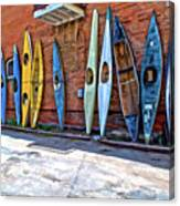 Kayaks On A Wall  Canvas Print
