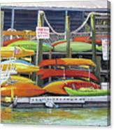 Kayaks Stacked On Shem Creek Canvas Print