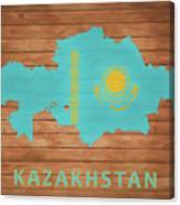 Kazakhstan Rustic Map On Wood Canvas Print