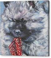 Keeshond Puppy With Christmas Stocking Canvas Print