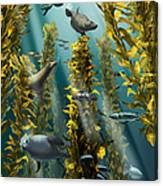 Kelp Forest With Seals Canvas Print