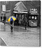 Kendall Square Rainy Day Cambridge Ma Blue And Yellow Canvas Print