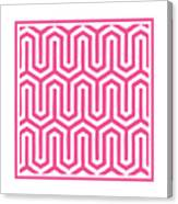 Key Maze With Border In French Pink Canvas Print