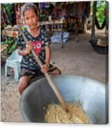 Khmer Girl Makes Sugar Cane Candy Canvas Print
