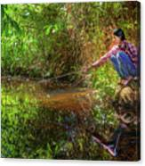 Khmer Woman Fishing - Cambodia Canvas Print