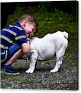 Kid And His Dog Canvas Print
