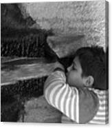 Kid Drinking From The Fountain Canvas Print