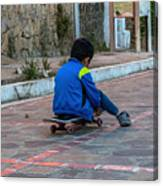 Kid Skateboarding Canvas Print
