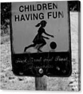 Kids At Play Sign Canvas Print