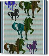 Kids Fun Gallery Horse Prancing Art Made Of Jungle Green Wild Colors Canvas Print