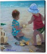 Kids Having A Shell Time In  Holmes Beach Canvas Print