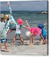 Kid's Yoga Class On Wingaersheek Beach Canvas Print