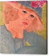 Kim Alexis In Flowery Hat Canvas Print