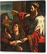 King David Giving Uriah A Letter Canvas Print
