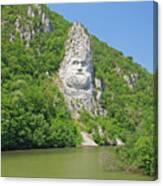 King Decebal, Rock Sculpture Canvas Print