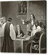 King James II Of England Facing Bishops Canvas Print