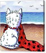 Kiniart Beach Blanket Westie Canvas Print