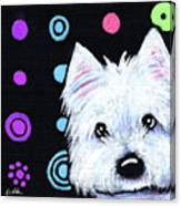 Kiniart Disco Westie Canvas Print