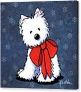 Kiniart Westie In Red Bow Canvas Print