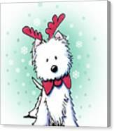 Kiniart Westie Reindeer Canvas Print