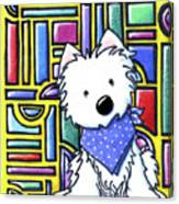 Kiniart Westie Stained Glass Canvas Print