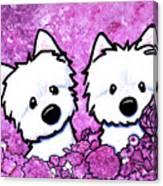 Kiniart Westies In Flowers Canvas Print