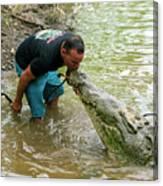 Kissing A Crocodile Canvas Print