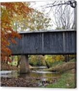 Kissing Bridge At Fall Canvas Print