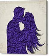 Kissing Couple Silhouette Ultraviolet Canvas Print