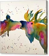 Kissing Moose Canvas Print