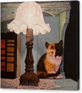 Kitten By The Lamp Canvas Print