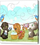 Kittens Washing Mittens Canvas Print