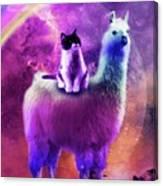 Kitty Cat Riding On Rainbow Llama In Space Canvas Print