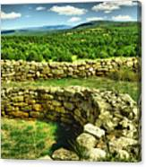 Kiva And View Pecos Ruins New Mexico Canvas Print