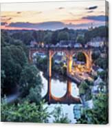Knaresborough Viaduct Floodlit At Dusk Canvas Print