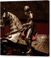 Knight And Horse In Armor Canvas Print