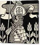 Knight Of Arthur, Preparing To Go Into Battle, Illustration From Le Morte D'arthur By Thomas Malory Canvas Print