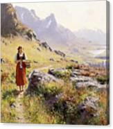 Knitting In A Norwegian Landscape Canvas Print