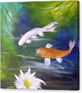 Kohaku Koi And Water Lily Canvas Print
