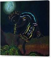 Kokopelli In Moonlight Canvas Print