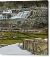 Kootenai Falls In Winter Canvas Print