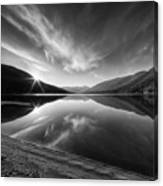 Kootenay Lake Sunrise Black And White Canvas Print