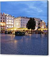Krakow Main Square By Night Canvas Print