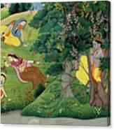 Krishna Fluting The The Milkmaids Canvas Print