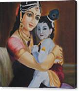 Krishna With Mother Yasoda Canvas Print