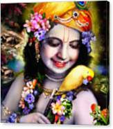 Krishna With Parrot Canvas Print